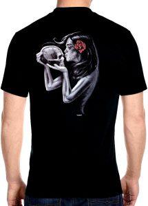 mens sugar skull lady biker t-shirt