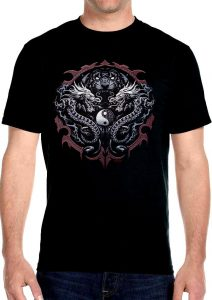 mens tiger head and dragons biker t-shirt