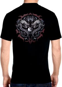 mens tiger with dragons biker t-shirt