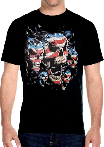mens skull patriotic hanes black biker t-shirt