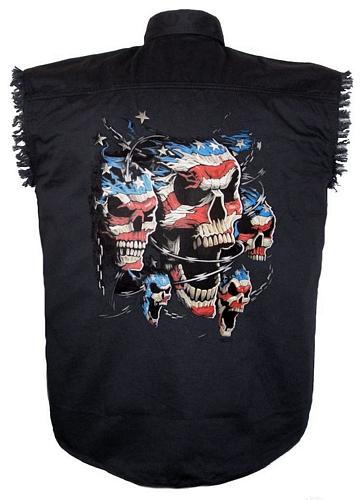mens patriotic skulls black twill denim shirt