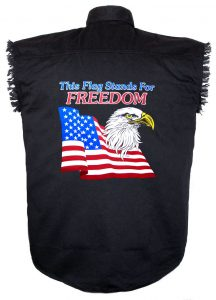 mens black twill this flag stands for freedom biker shirt
