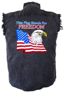 mens patriotic american eagle denim biker shirt