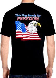 mens patriotic eagle and flag biker t-shirt