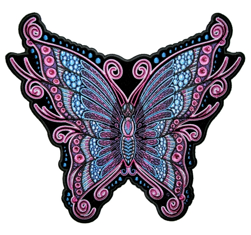 ladies pink and blue butterfly patch