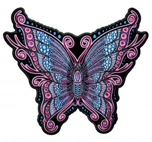 pink and blue sparkling butterfly biker patch