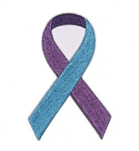 blue and purple ribbon suicide awareness