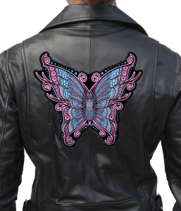 pink and blue butterfly biker patch