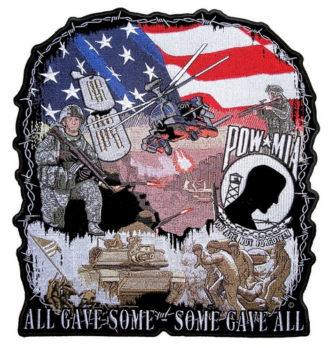 patriotic POW-MIA All Gave Some biker patch