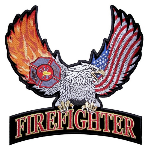 firefighter eagle embroidered biker patch