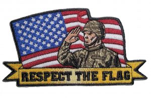 american flag and soldier respect the flag biker patch