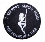 I support single moms funny saying biker patch