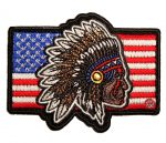 patriotic native american headdress on american flag patch