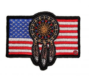 patriotic native american dream catcher flag biker patch