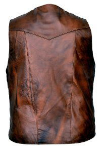 Brown concealed carry leather vest