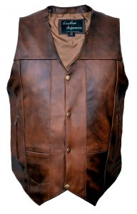 buffalo hide biker leather vest