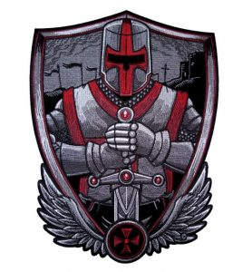 Red and Silver Christian crusader patch