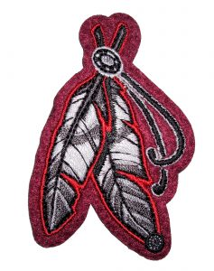 native American dual feathers biker patch
